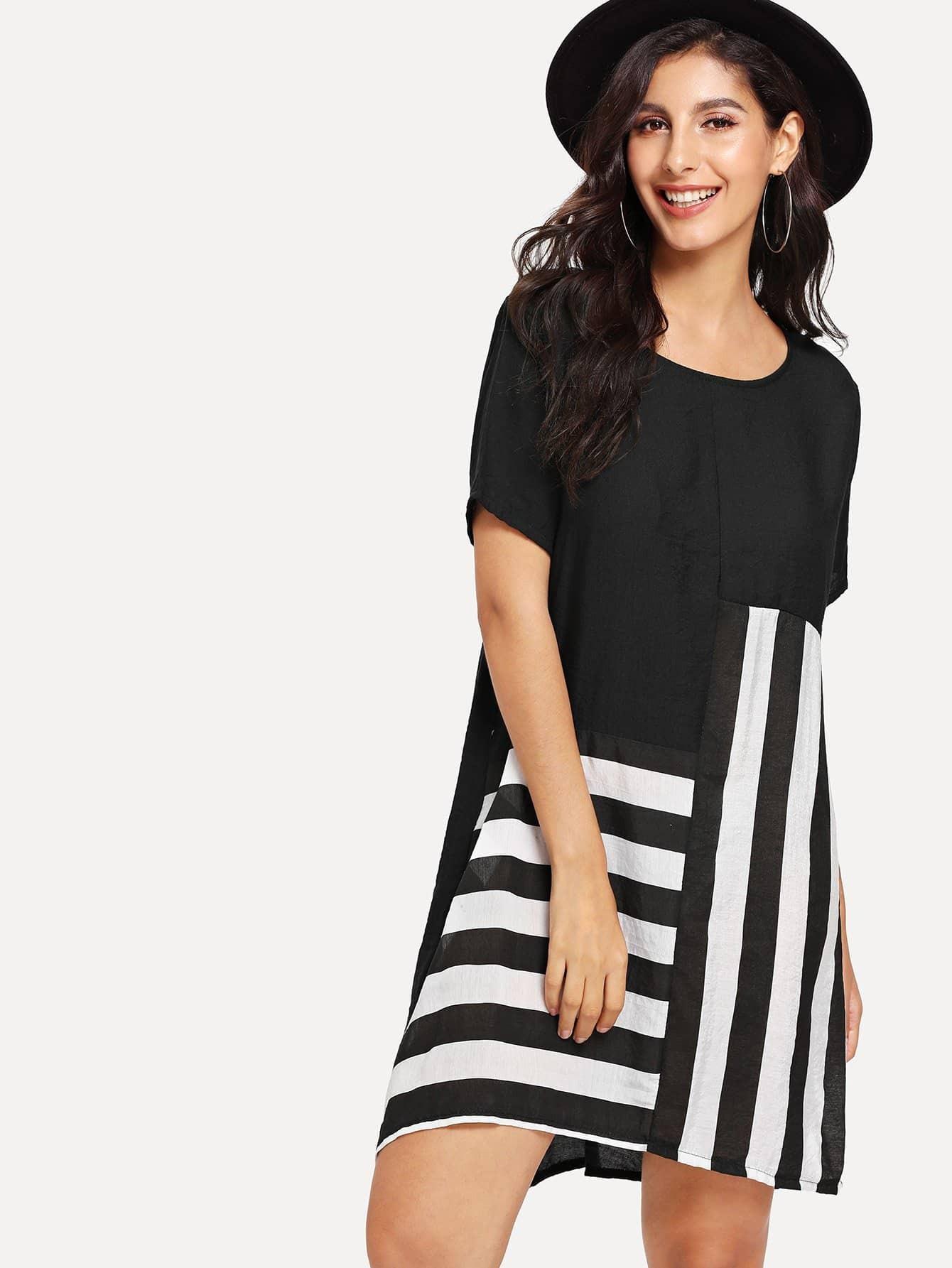 Stripe Contrast Tee Dress contrast stripe twist back crop tee
