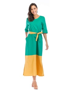 Self Tie Waist Color Block Dress