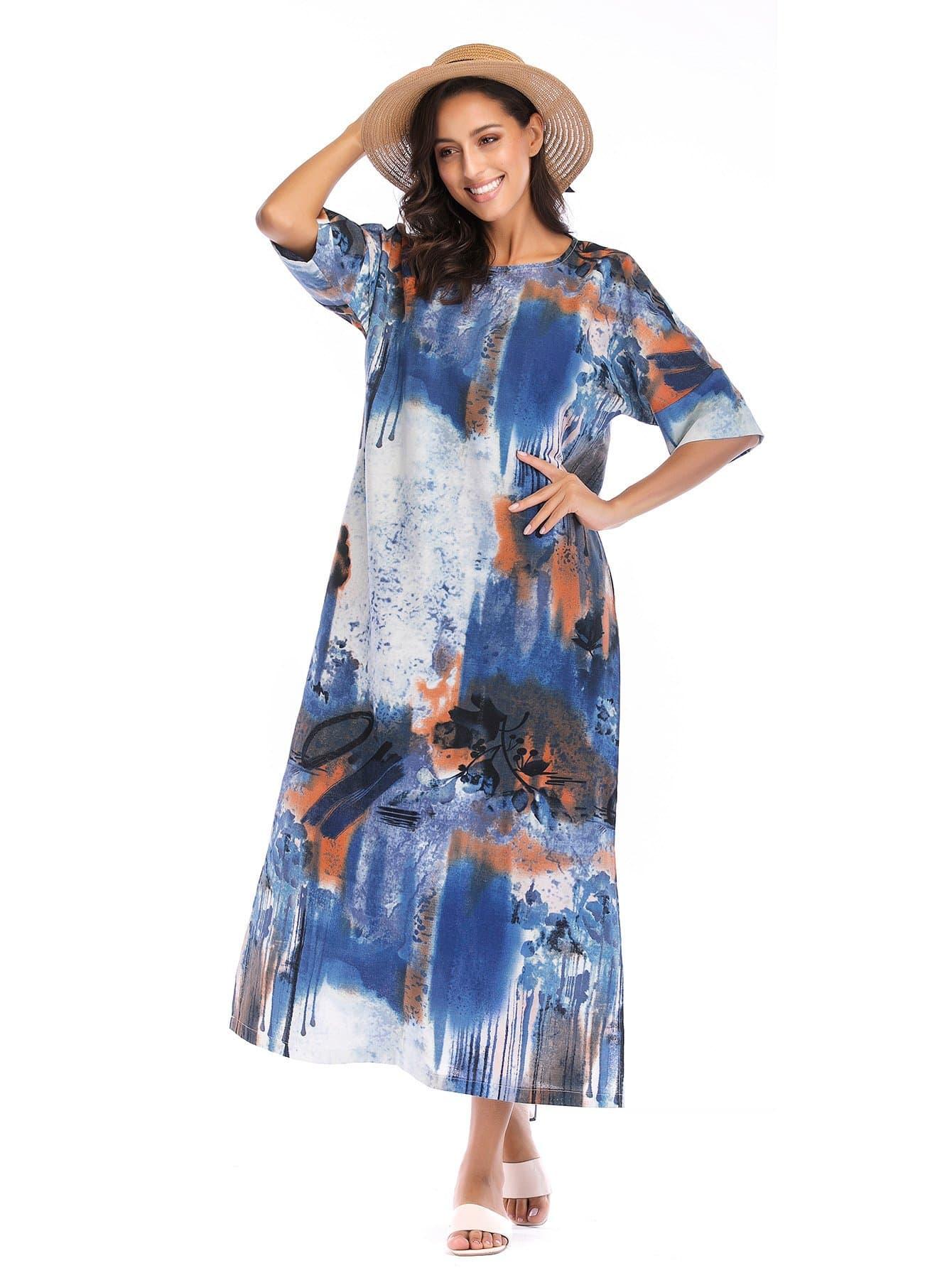 Graphic Print Split Side Longline Dress split side longline blazer