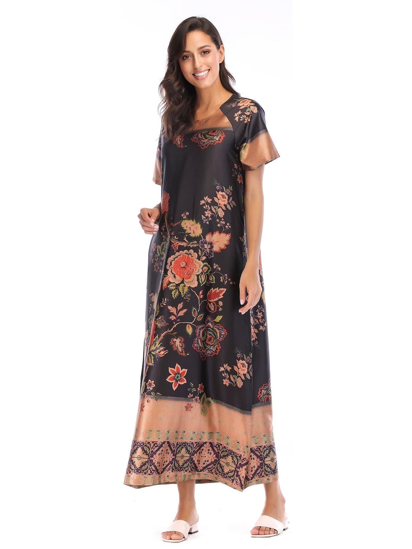Floral Print Longline Dress tribal print longline dress