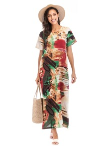 Graphic Print Longline Dress