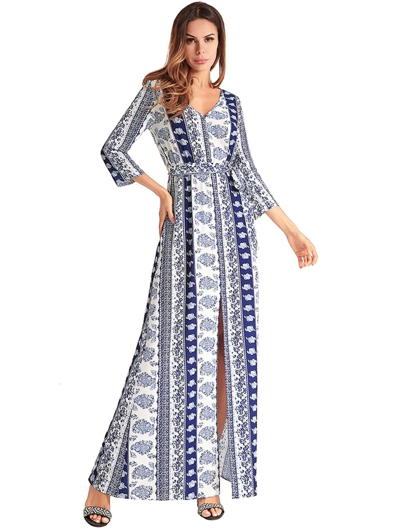 Tribal Print Split Front Longline Dress tribal print longline dress