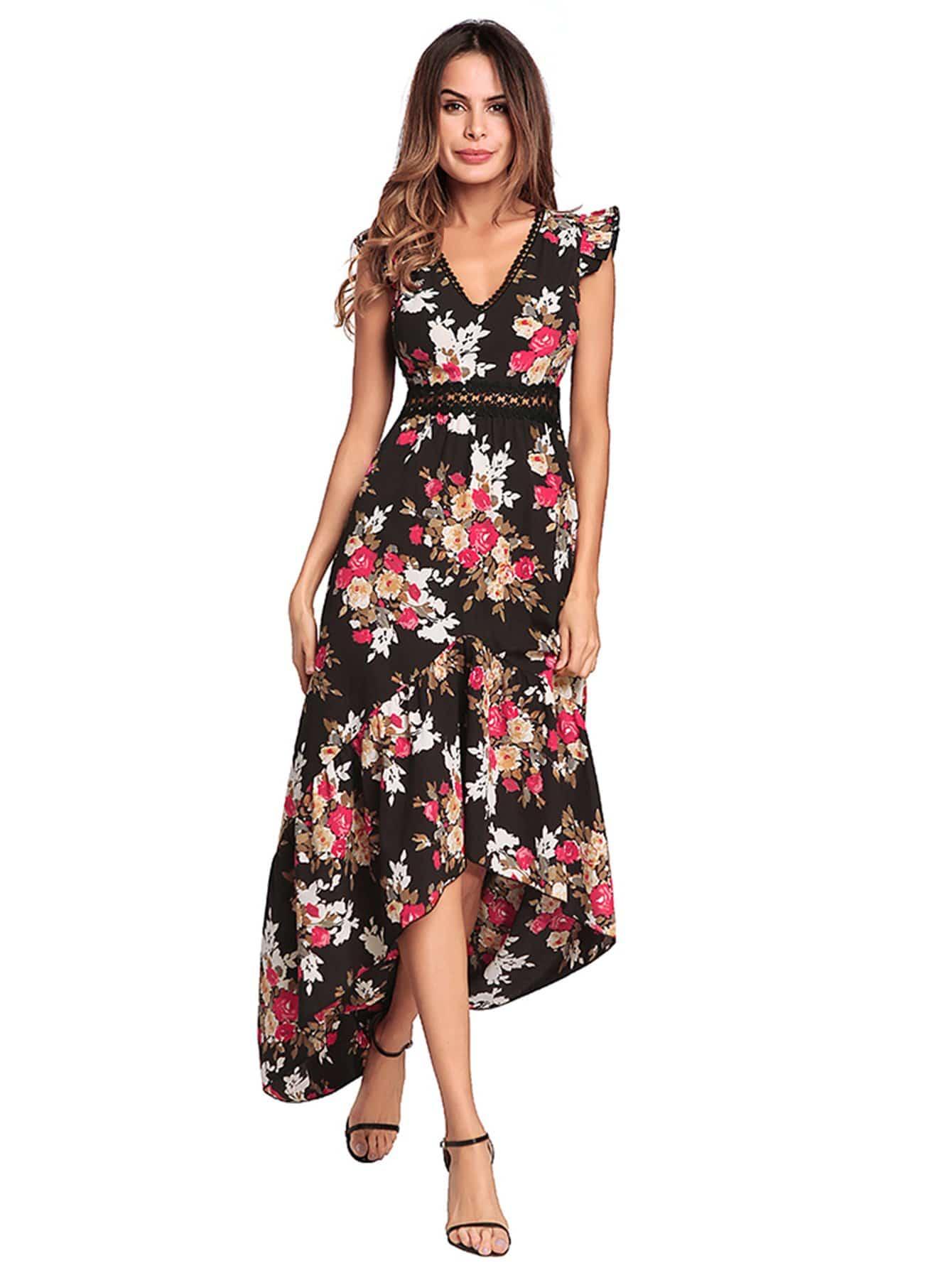 Floral Print High Low Tank Dress emoji print high low night dress