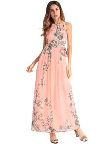 Floral Tie Waist Tank Dress