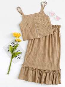 Button Front Cami Top & Ruffle Hem Skirt