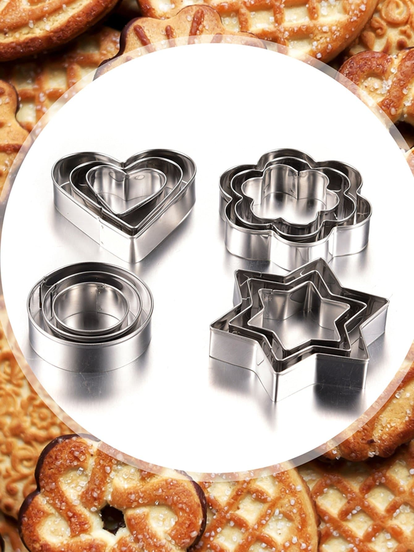 Stainless Steel Cookie Cutter 12pcs stainless steel abs chrysanthemum circle shaped spring cookie cutter green silver