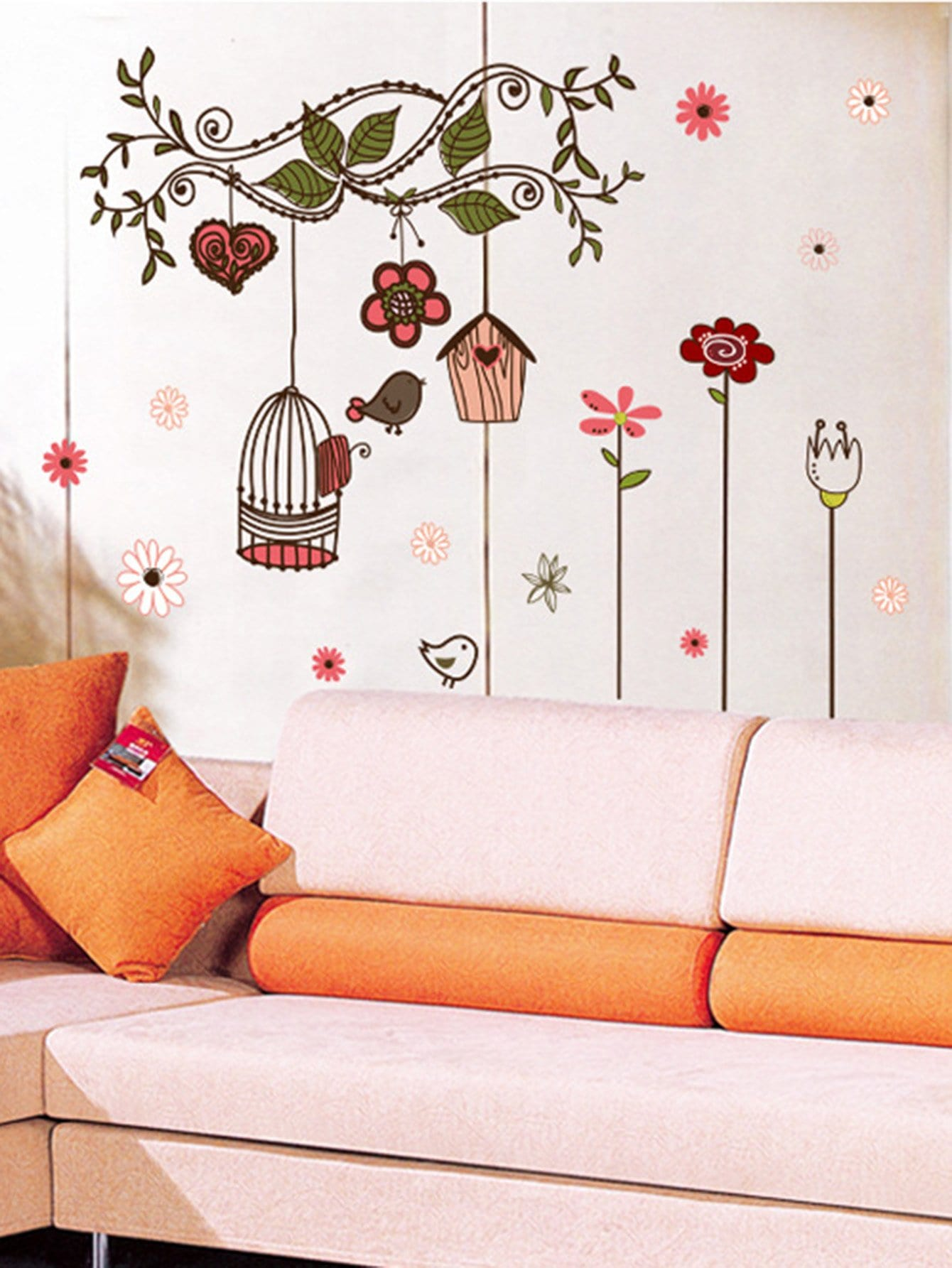 Floral Cage Wall Decal double wine wall decal