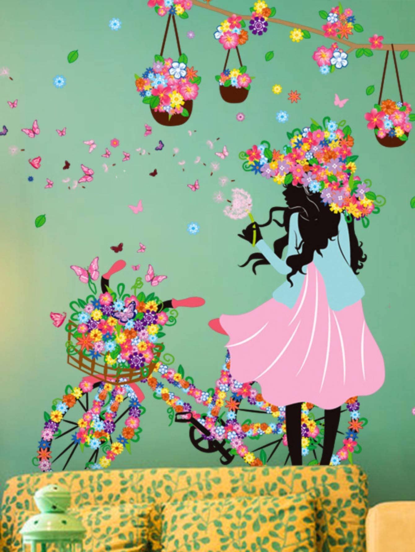 Floral Girl Wall Decal floral girl wall decal