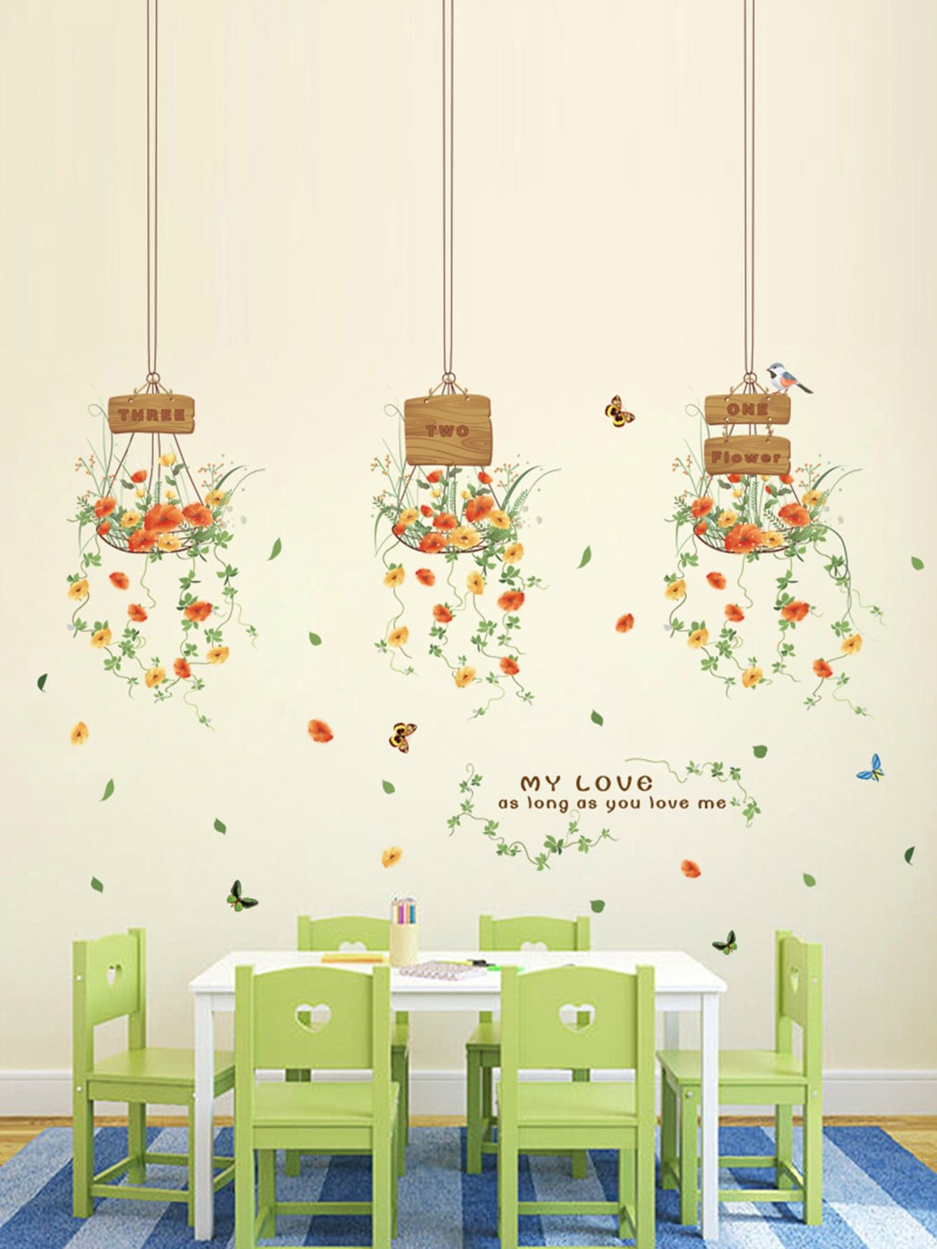 Фото Hanging Flower Wall Decal family wall quote removable wall stickers home decal art mural