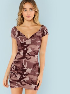 Camo Print Ruched Bardot Mini Dress