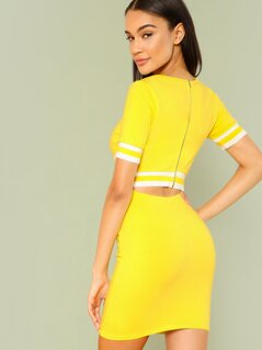Zip Back Cut Out Dress with Stripe Band Detail