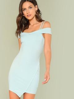 Cold Shoulder Ribbed Knit Mini Dress