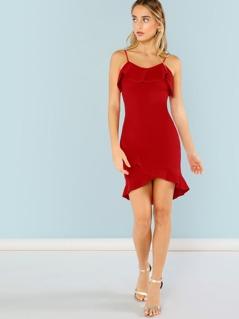 Ruffle Hem Spaghetti Strap Dress