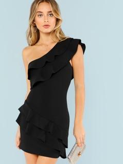 One Shoulder Ruffle Dress