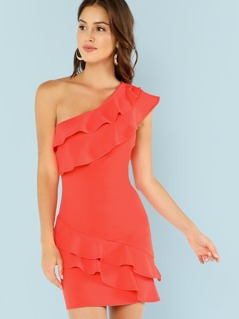 One Shoulder Tiered Ruffle Trim Fitting Dress