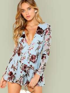 Floral Print Mesh Sleeve Mini Dress