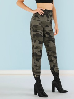 Camo Print Sweatpants with Zipper Sides