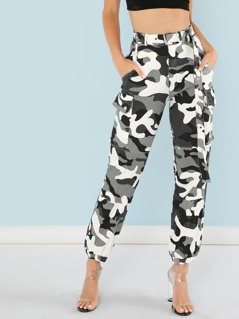 Camo Print Belted Cargo Pants