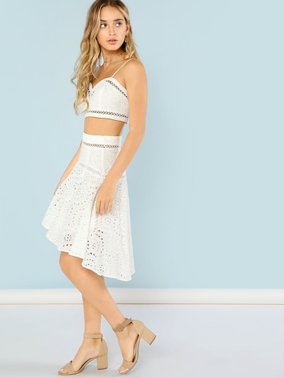 Sweetheart Neckline Eyelet Crop Top with High Low ...