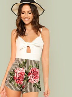 Stripe and Floral Print Contrast Romper with Front Tie Detail
