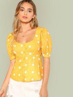 Polka Dot Puff Sleeve Peplum Shirt