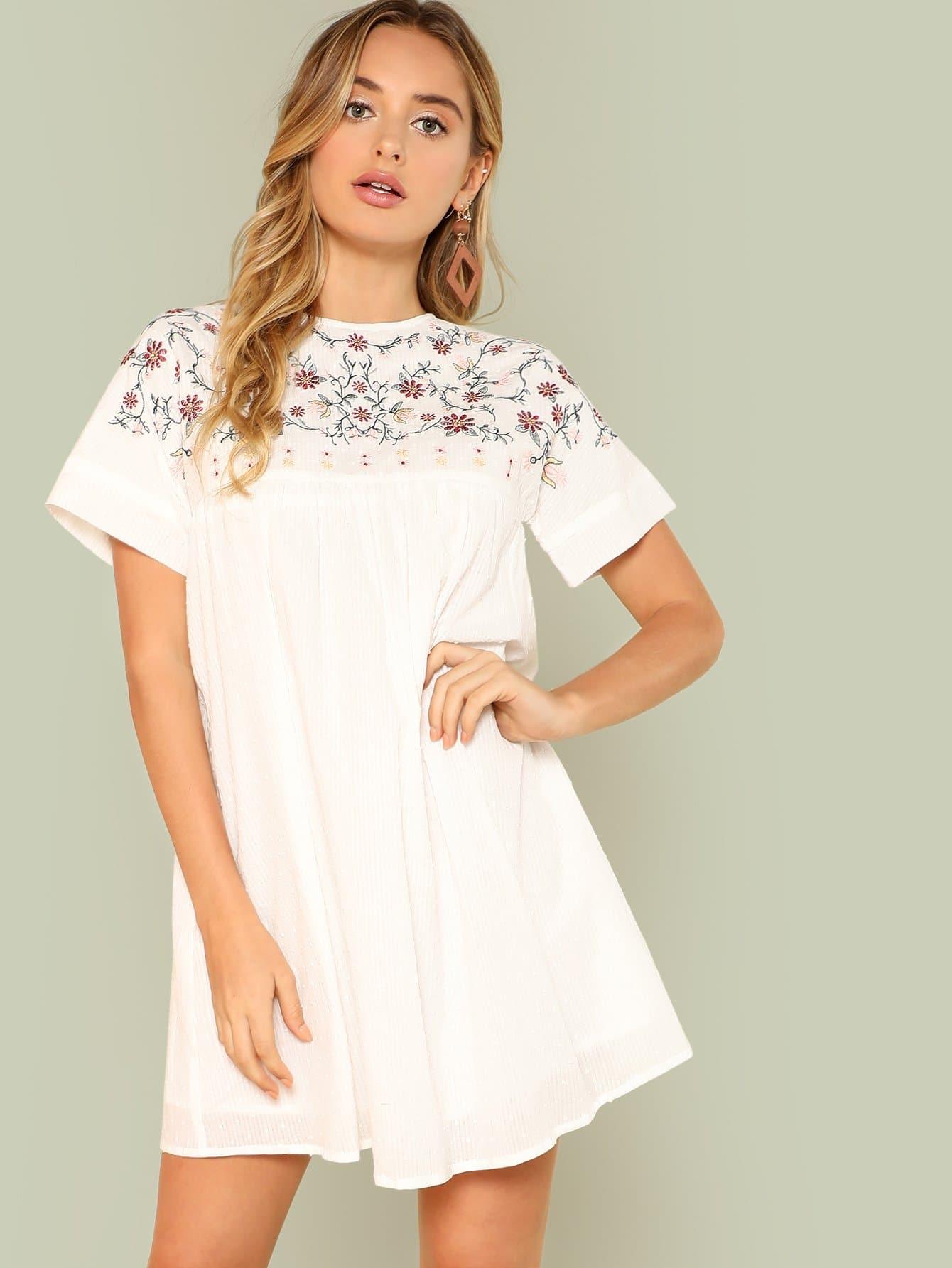 Купить Платье с вышивкой, Saskia J, SheIn