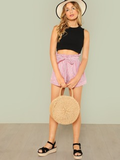 Frilled Waist Belted Striped Shorts