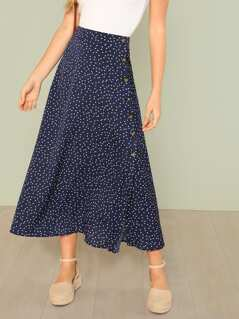 Polka Dot Slit Side Skirt