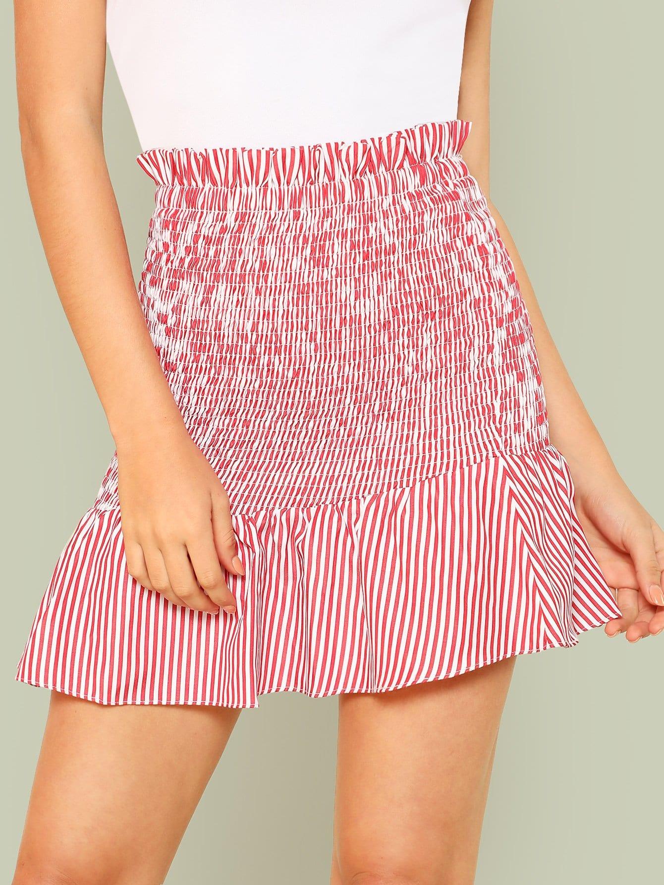 Shirred Panel Asymmetrical Ruffle Hem Skirt asymmetrical ruffle hem denim skirt