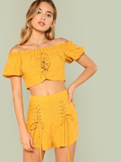Grommet Lace Up Bardot Top & Shorts Co-Ord