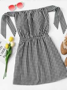 Bardot Knot Sleeve Elastic Waist Dress