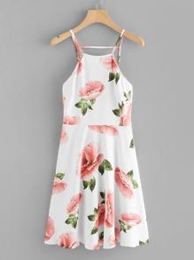 Floral Print Cut Out Back Cami Dress