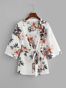 Drop Shoulder Self Tie Waist Floral Print Kimono