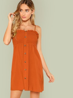 Button Up Smocked Cami Dress