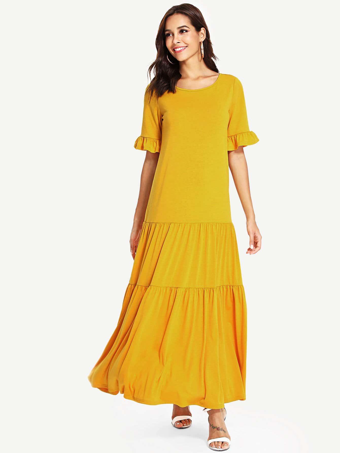 Ruffle Trim Solid Tiered Dress one side ruffle trim solid dress