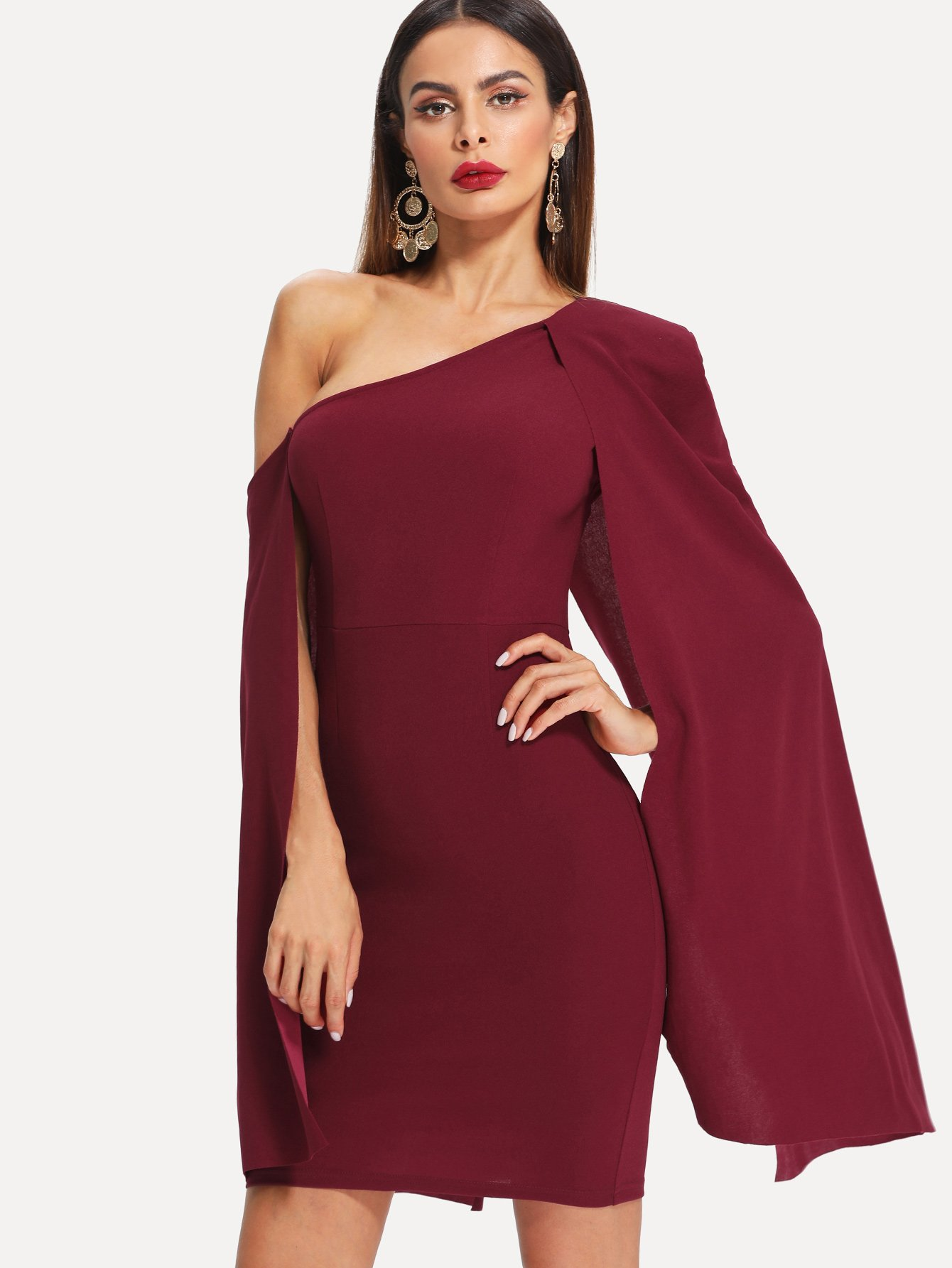 Asymmetrical Neck Cape Sleeve Dress plunging neck cape sleeve print dress