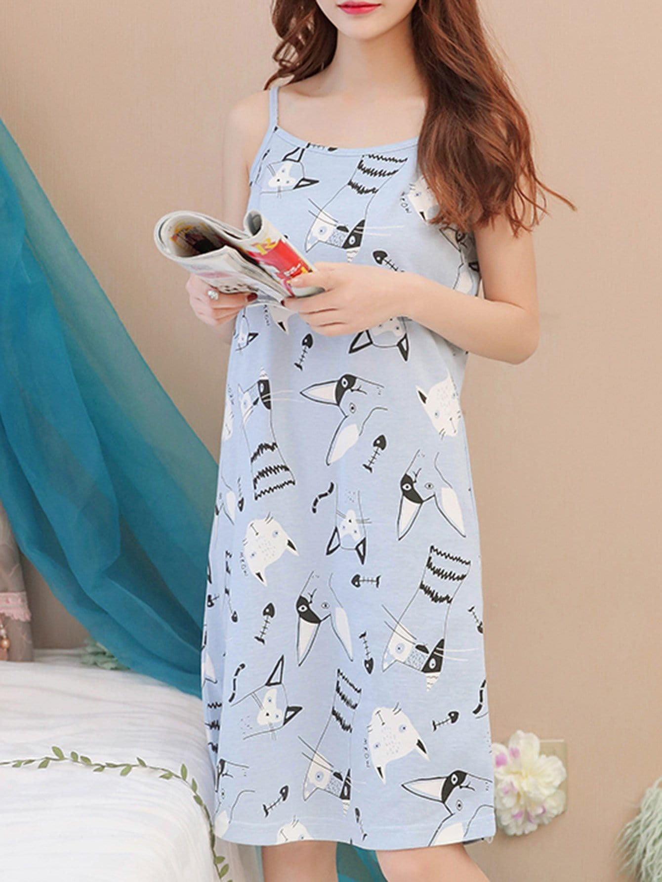 Cat Print Night Dress