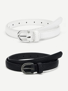 Metal Buckle Design Belt 2Pcs
