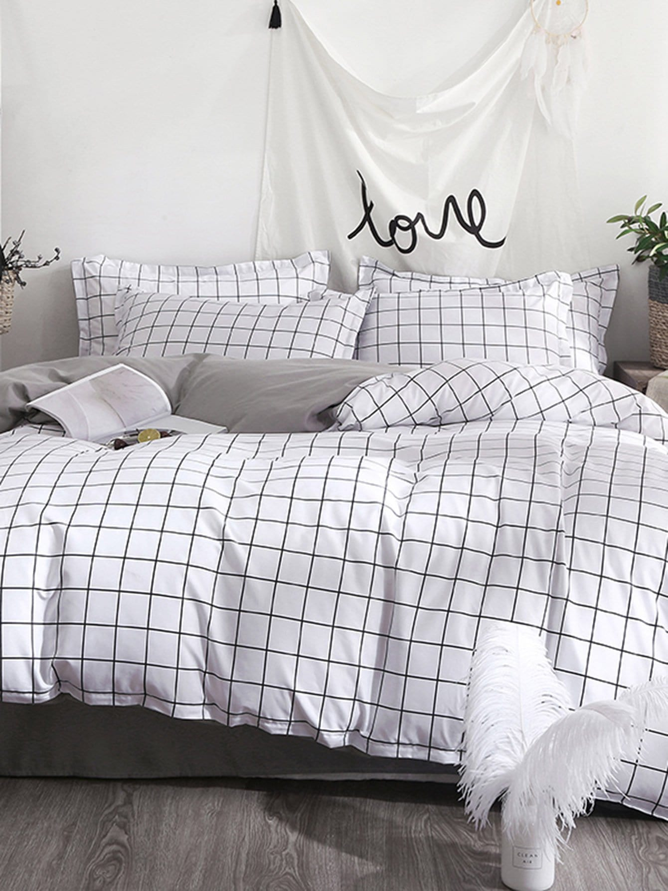 Allover Grid Duvet Cover grid duvet cover set