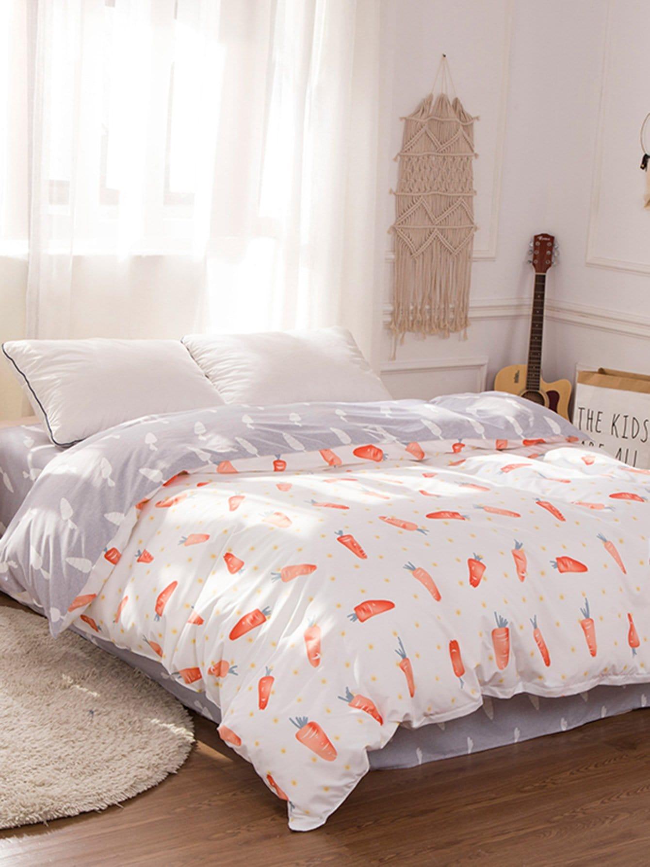 Carrot Print Duvet Cover grid carrot pants