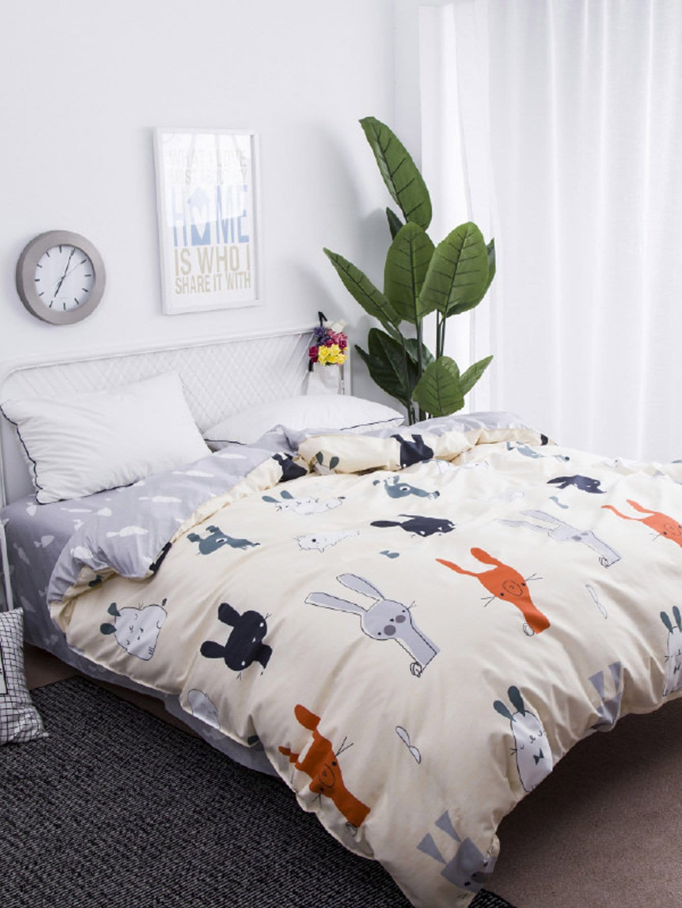Cartoon Rabbit Print Duvet Cover rabbit print pullover
