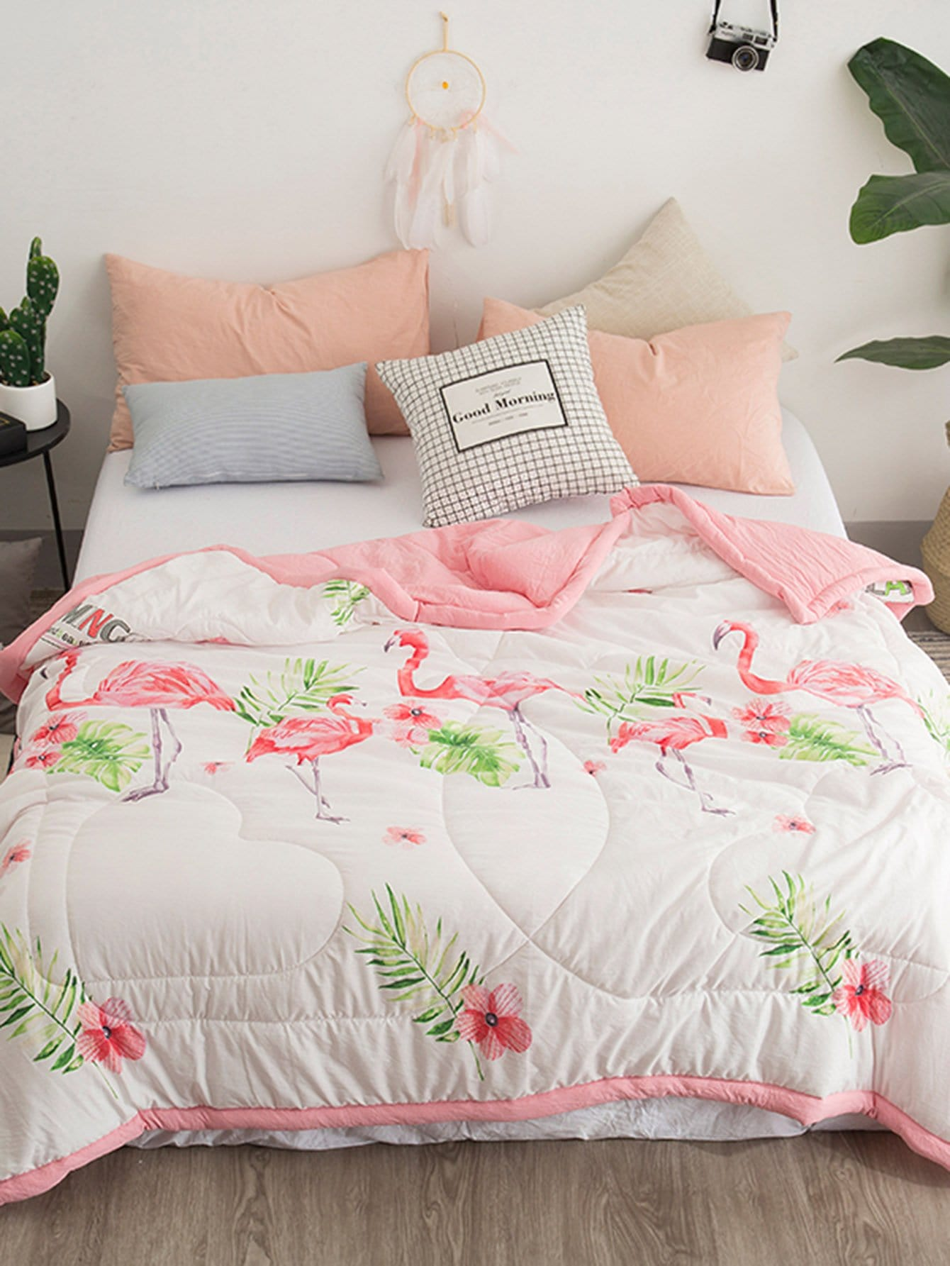 Flamingos & Flower Print Solid Quilt plaid print solid quilt