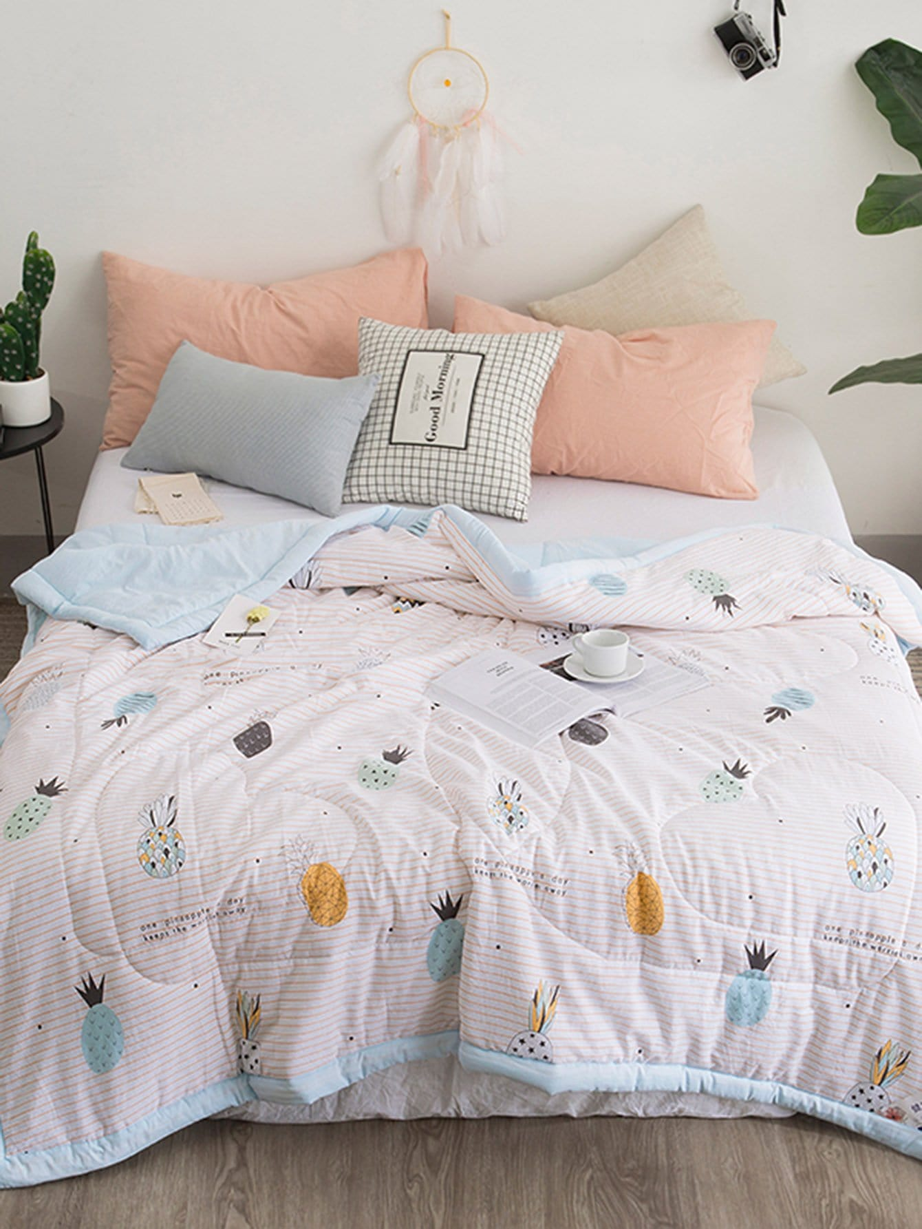 Fruit & Striped Print Solid Quilt plaid print solid quilt