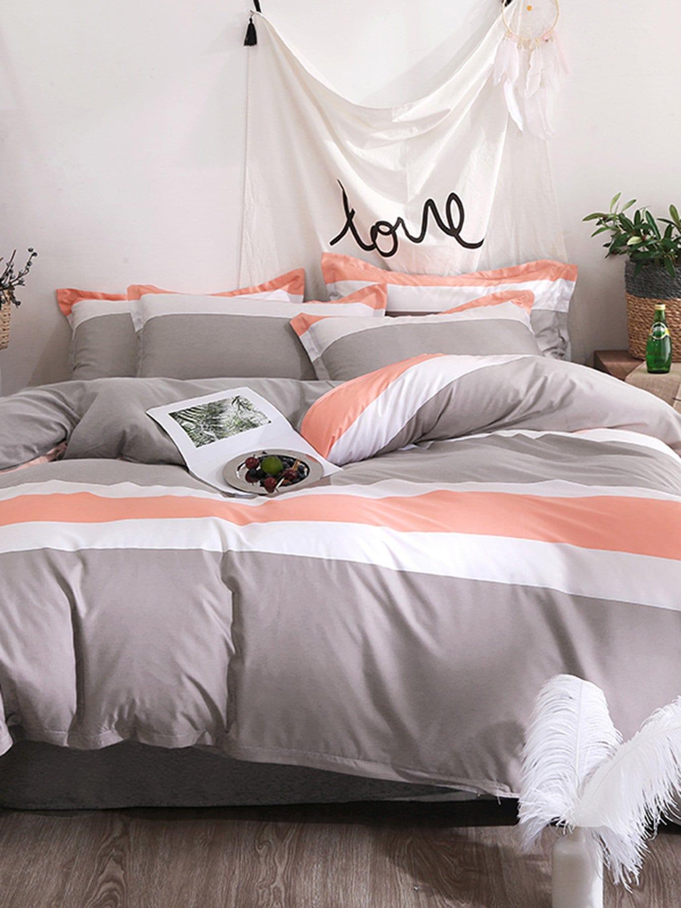 Купить Комплект для кровати с принтом полоски и кактус, null, SheIn