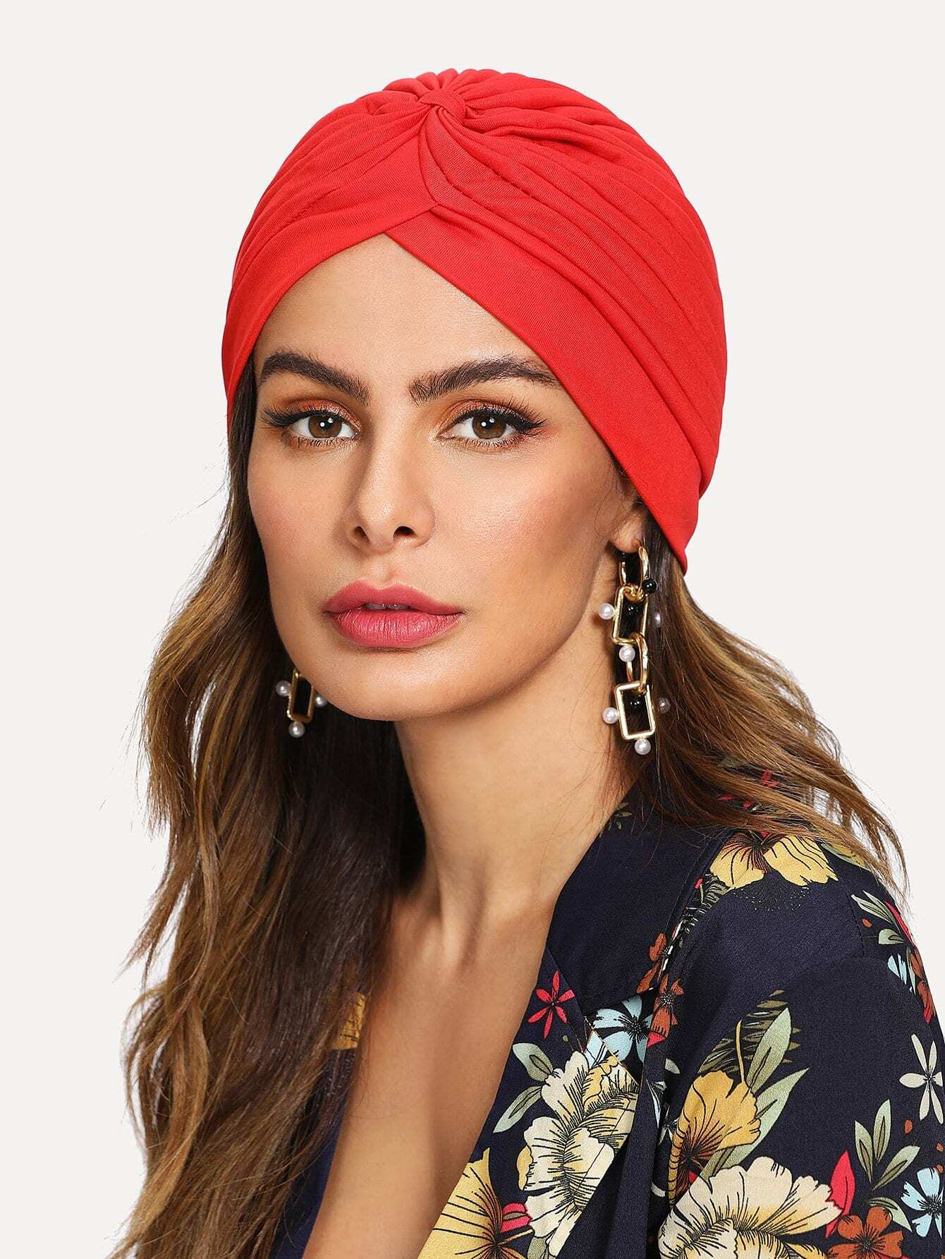 Pleated Plain Turban Hat plain pleated skirt
