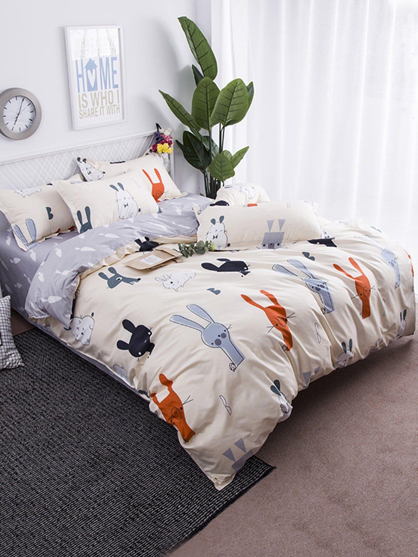 Купить Комплект для кровати с принтом полоски и конфеты, null, SheIn