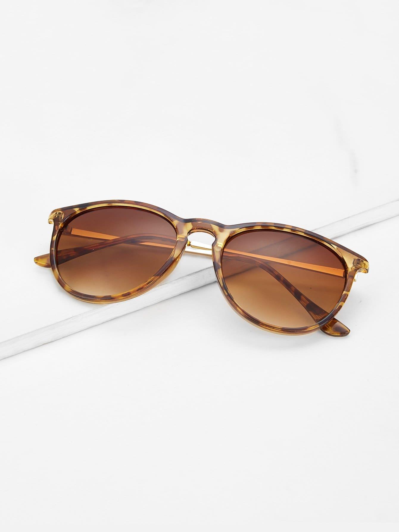 Leopard Frame Flat Lens Sunglasses chic alloy crossbar flat lens cool leopard sunglasses for women