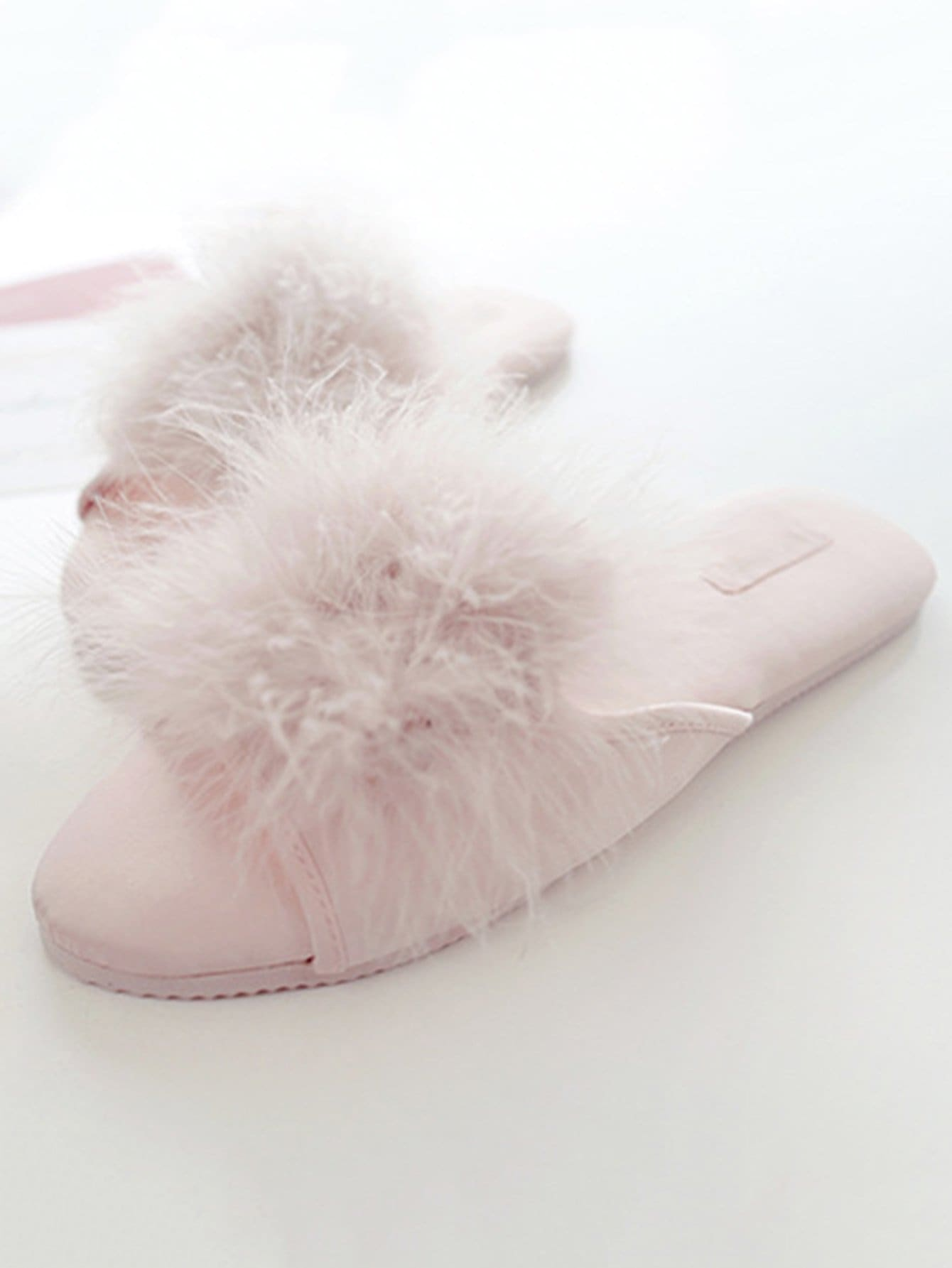 Pointed Toe Faux Fur Slippers