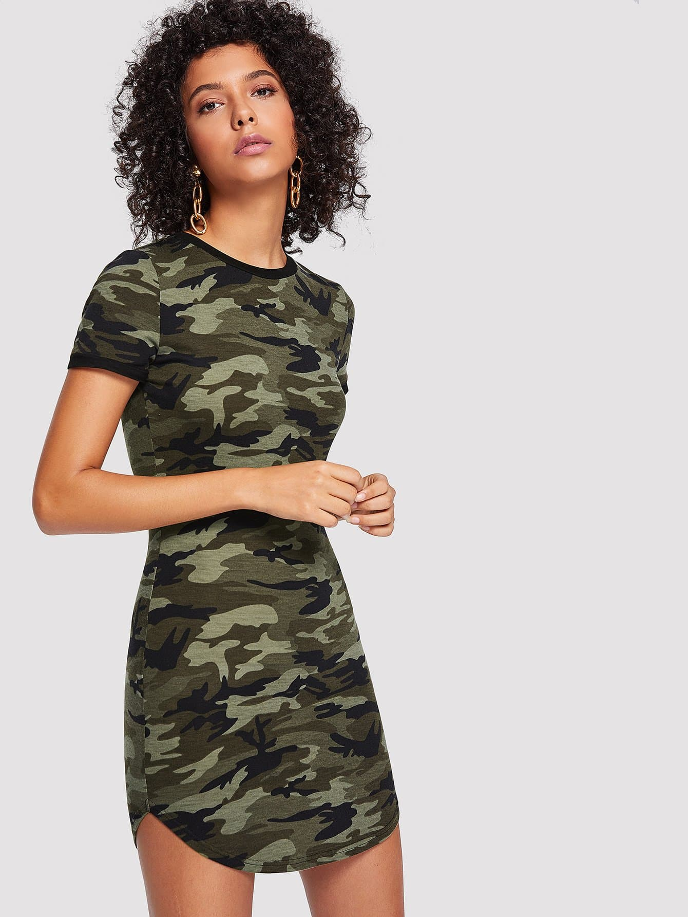 Camo Print Curved Hem Dress batwing sleeve pocket side curved hem textured dress