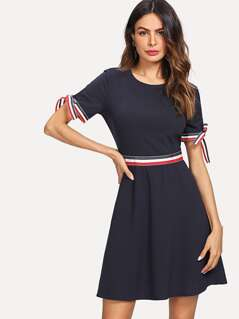 Knot Cuff Striped Fit & Flare Dress
